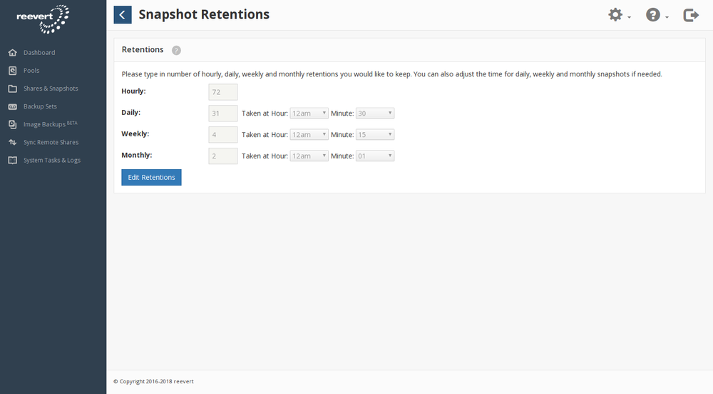 reevert snapshot settings page screenshot