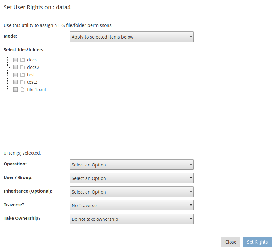 User Rights Console - reevert