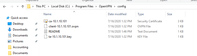 Copy VPN Client Package files