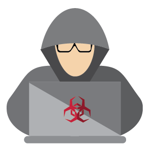 vector image of a hacker on a computer